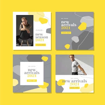 Paquete de publicaciones de instagram orgánico amarillo y gris