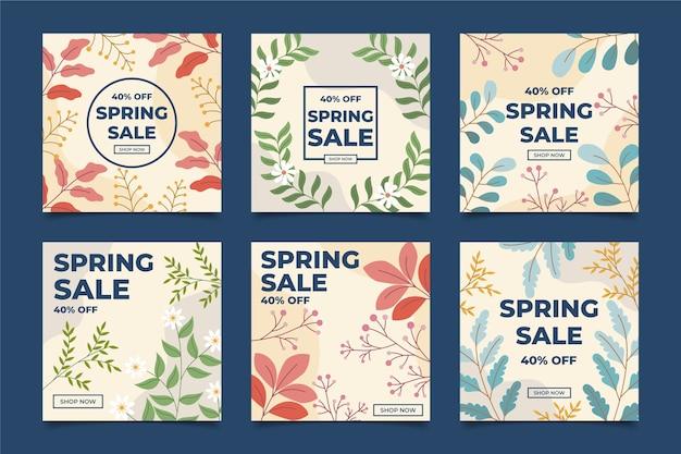 Paquete de publicaciones de instagram de primavera