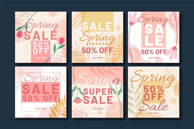 Paquete de publicaciones de instagram de rebajas de primavera plana