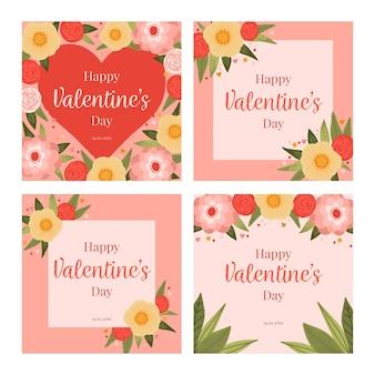 Paquete de publicaciones de instagram de san valentín