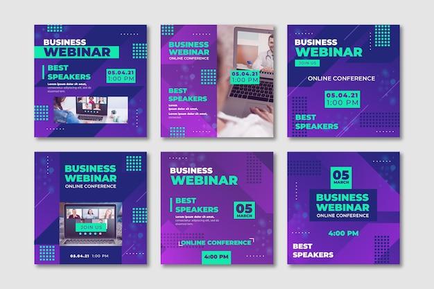 Paquete de publicaciones de instagram de seminarios web