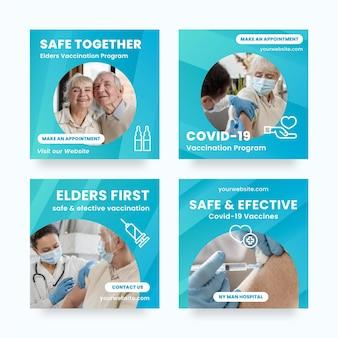 Paquete de publicaciones de instagram de vacuna gradiente con fotos