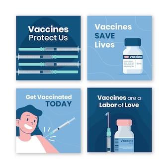 Paquete de publicaciones de instagram de vacuna plana