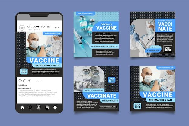 Paquete de publicaciones de instagram de vacunación plana con fotos