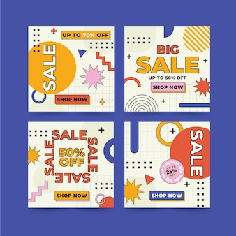 Paquete de publicaciones de instagram de venta de diseño plano