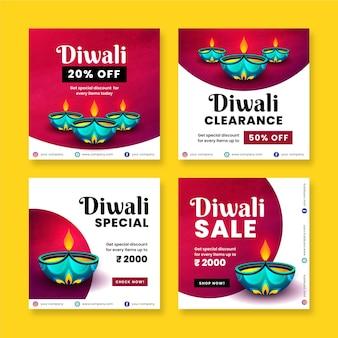 Paquete de publicaciones de instagram de venta de diwali