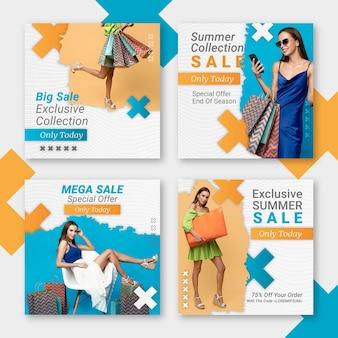 Paquete de publicaciones de instagram de venta plana con foto