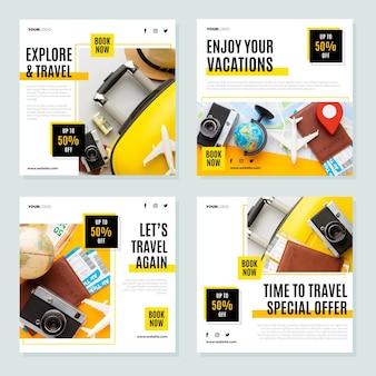 Paquete de publicaciones de instagram de viajes de diseño plano