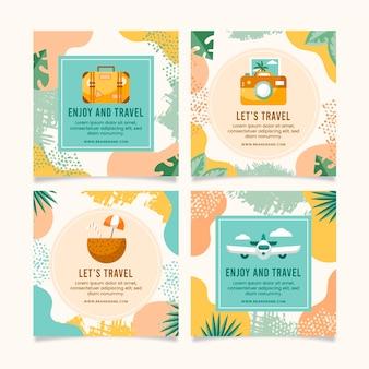 Paquete de publicaciones de instagram de viajes planos