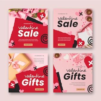 Paquete de publicaciones modernas de rebajas de san valentín