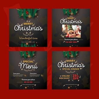 Paquete de publicaciones navideñas de instagram