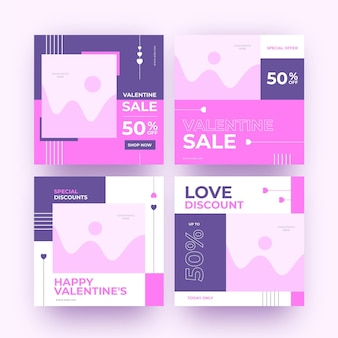 Paquete de publicaciones de rebajas de san valentín moderno