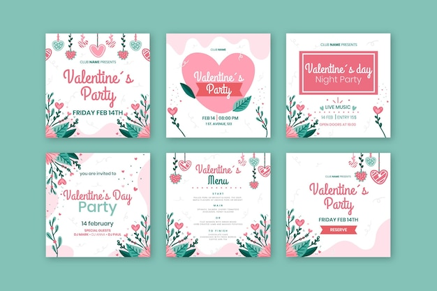 Paquete de publicaciones de redes sociales del día de san valentín