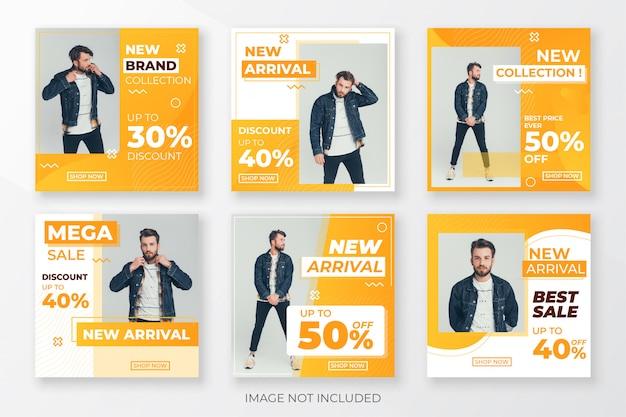 Paquete de publicaciones en redes sociales para empresas con forma naranja