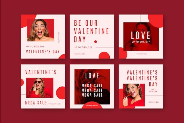 Paquete de publicaciones de redes sociales de san valentín