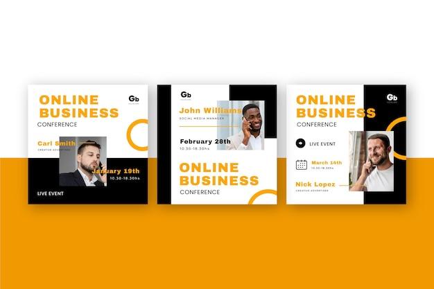 Paquete de publicaciones en redes sociales de seminarios web