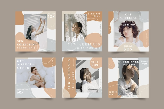Paquete de publicaciones de redes sociales de venta de moda
