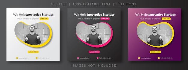 Paquete puesta en marcha de banner web de publicación de redes sociales de negocios