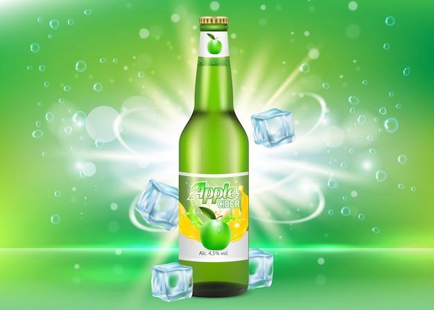 Paquete realista de botella de sidra de manzana