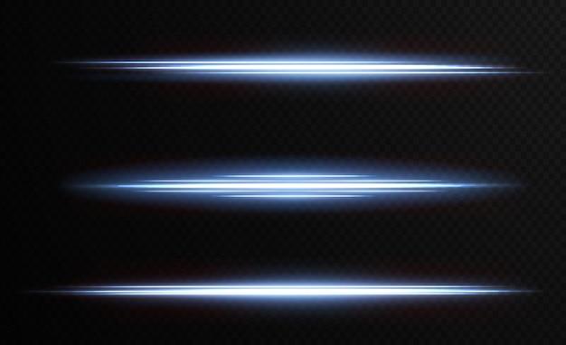 Paquete con reflejos horizontales azules rayos de neón láser rayos azules claros horizontales