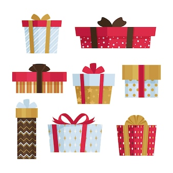 Paquete de regalo de navidad de diseño plano