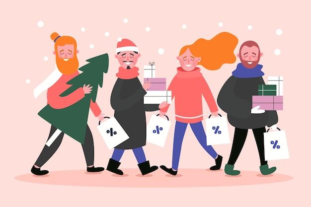 Paquete de regalos de navidad para personas que compran