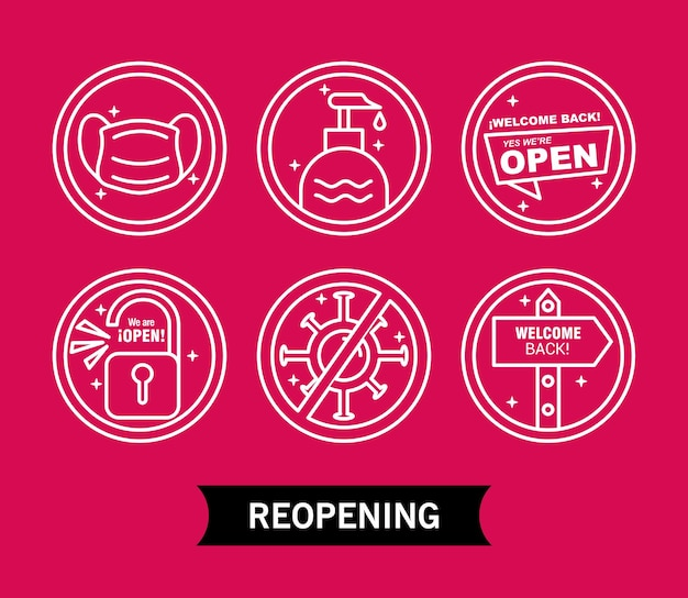 Paquete de seis etiquetas de reapertura con iconos de estilo de línea y letras