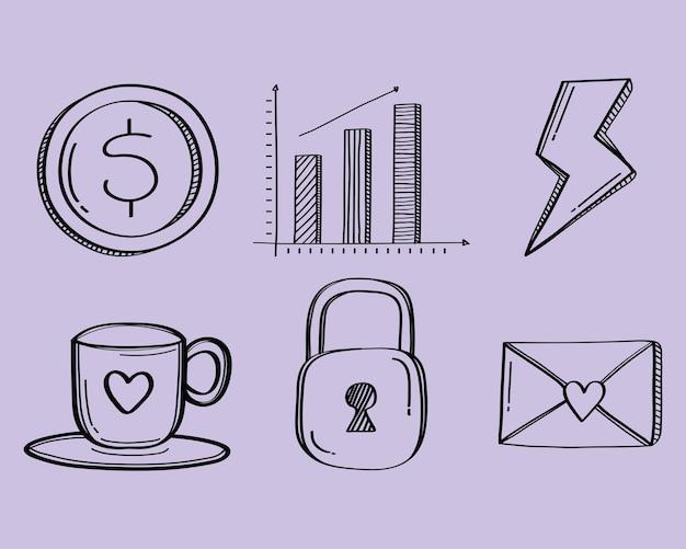 Paquete de seis iconos de conjunto de estilo doodle ilustración