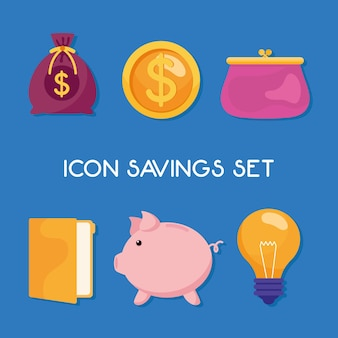 Paquete de seis iconos de conjunto de gestión de ahorros e ilustración de letras