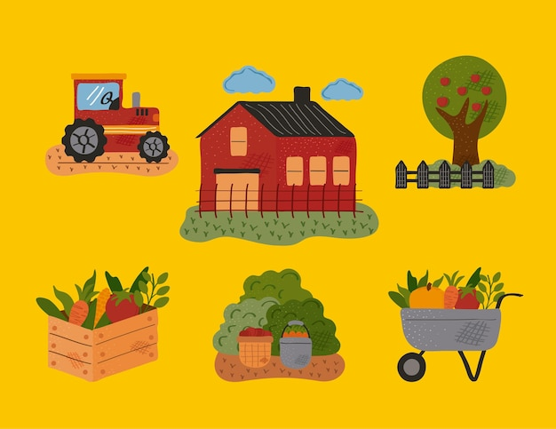 Paquete de seis iconos de conjunto de granja y agricultura, diseño de ilustraciones vectoriales