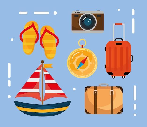 Paquete de seis iconos de conjunto de viajes de vacaciones