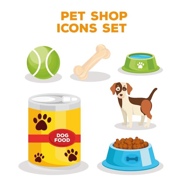 Paquete de seis iconos y letras de tienda de mascotas