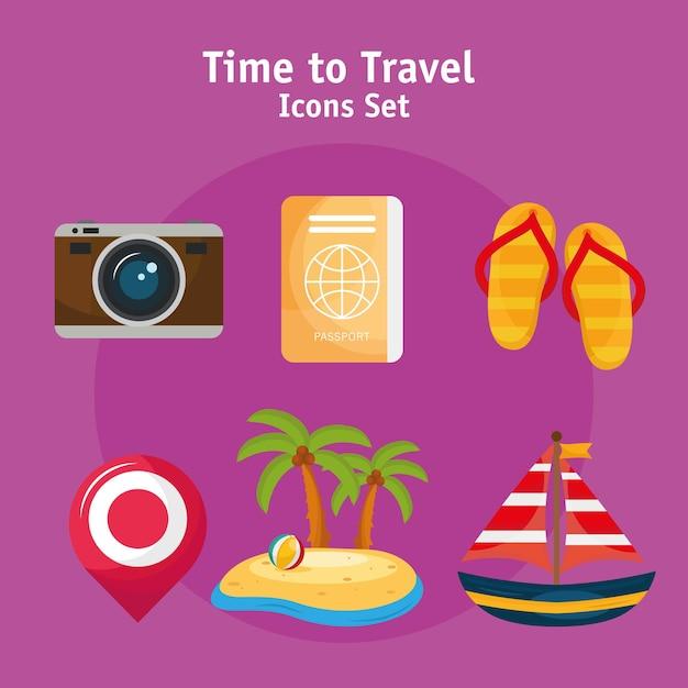 Paquete de seis vacaciones viajes set iconos y letras