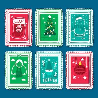 Paquete de sellos navideños dibujados a mano