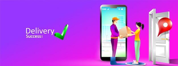 Paquete de servicio de entrega en línea a casa con teléfono inteligente. las mujeres reciben un paquete por mensajería frente a la casa. ilustración