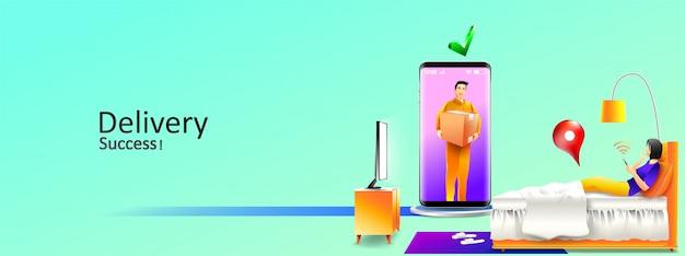 Paquete de servicio de entrega en línea rápido a dormitorio en casa por mensajería y teléfono inteligente. ilustración