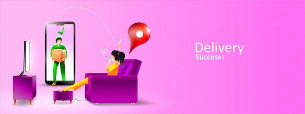 Paquete de servicio de entrega en línea para sala de estar en casa con teléfono inteligente. ilustración