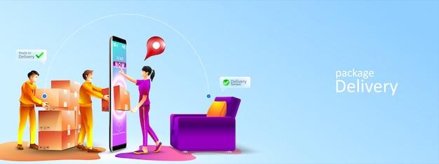 Paquete de servicio de entrega rápida en línea a la sala de estar en casa por mensajería. las mujeres reciben un paquete que aparece desde la pantalla del teléfono por mensajería en casa. ilustración