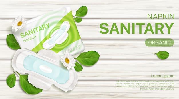 Paquete de servilletas sanitarias plantilla de banner de flor de manzanilla