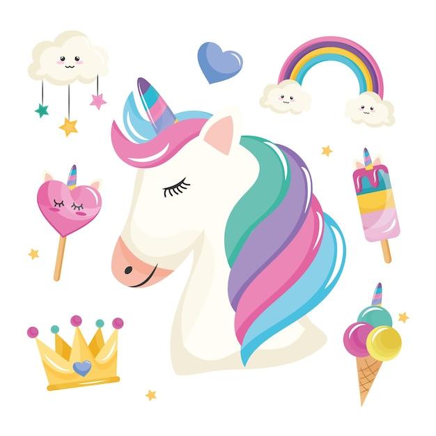 Paquete de siete iconos de conjunto de unicornio
