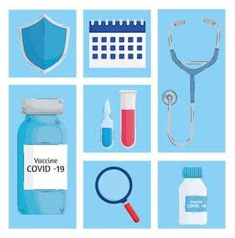 Paquete de siete iconos de conjunto de vacunas ilustración