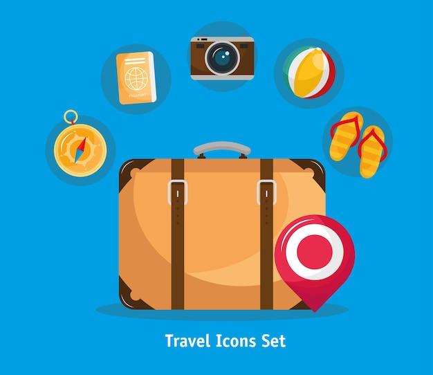 Paquete de siete vacaciones viajes set iconos y letras