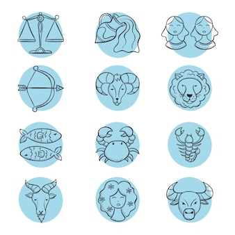 Paquete de signo zodiacal grabado dibujado a mano