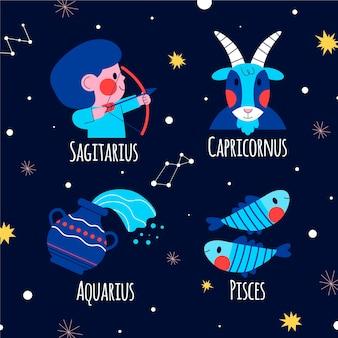 Paquete de signo del zodiaco de diseño plano