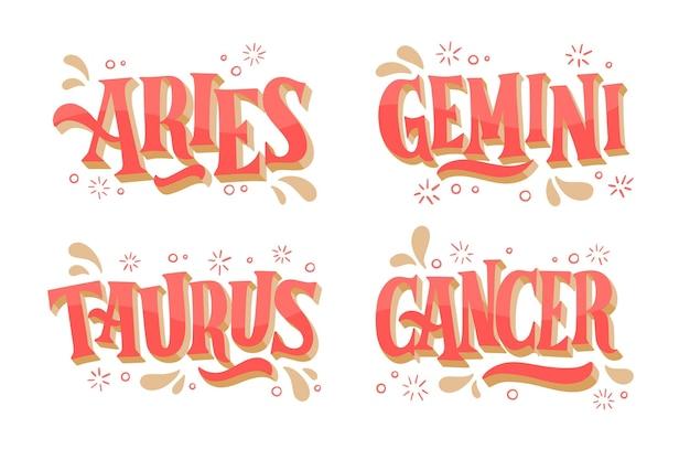 Paquete de signos del zodíaco dibujado a mano