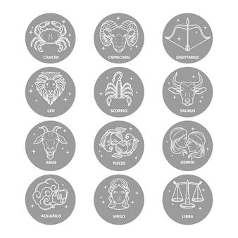 Paquete de signos del zodíaco estilo dibujado a mano
