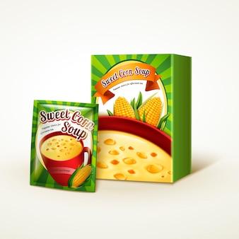 Paquete de sopa de maíz, fondo blanco aislado