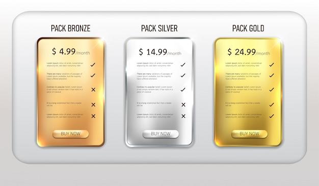 Paquete de tabla de precios web de botones