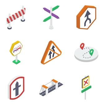 Paquete de tablero de carretera y símbolos