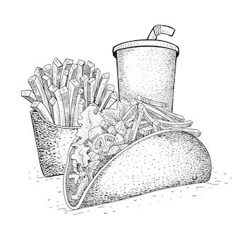 Paquete de tacos comida rápida en dibujado a mano
